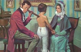 Laennec auscultando un paciente con el estetoscopio de su invención